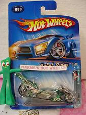 2005 Hot Wheels FRIGHT BIKE cycle #080/80∞Green w/skull & flame∞Rebel Rides 5/5