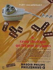 PUBLICITE PHILIPS RASOIR ELECTRIQUE PHILIPSHAVE RASAGE DE 1967 FRENCH AD PUB