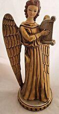 Vintage Gold Beardsley Winged Angel w/ Lute Harp Christmas Decoration Figure