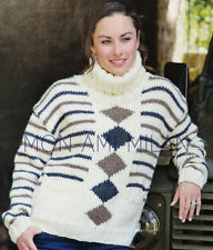 Knitting Pattern LADIES ROLL NECK GRAPHIC PATTERNED CHUNKY SWEATER JUMPER 32-46""