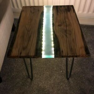 Bespoke Resin River coffee table With Hairpin Legs & LED Lights