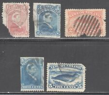 NEWFOUNDLAND STAMPS #35,39,48,49,55  — FIVE (5)1880's - USED - DEFECTS