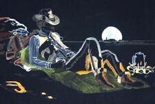 Vtg Western Velvet Painting Sheriff Cowboy Campfire Black Light Neon Retro Art