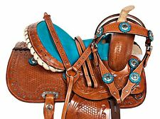 10 12 BLING BLUE USED PONY LEATHER SADDLE WESTERN YOUTH KIDS SADDLE TACK SET