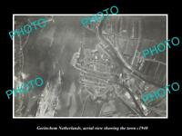 OLD LARGE HISTORIC PHOTO GORINCHEM NETHERLANDS HOLLAND TOWN AERIAL VIEW c1940 1