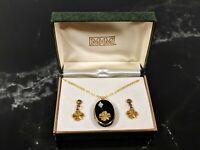 Lovely Jewellery Golden Clover Glass Jet Pendant Necklace Earrings Demi