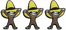 """Curious George with Yellow Hat 3"""" Tall Set of 3 Iron-On Patches"""