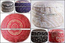 Pouf Mandala Design Cotton Fabric Footstool Ottoman Cover Gold Color Indian Art