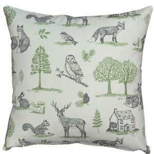"""Country Woodland Animal Cushion. Owls, Foxes. Green & Grey. Double Sided. 17"""""""