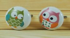 Set of 2 Ceramic Owls Drawer Knobs Cabinet Cupboard Handles Childrens Nursery