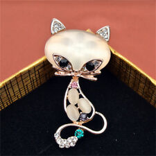 1x Gold Filled Opals Stone Fox Brooches Women Fashion Animal Pin Brooch JewelryZ
