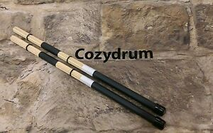 COZYDRUM PRO ROD DRUM STICKS Hand made British Custom rods Bamboo black white