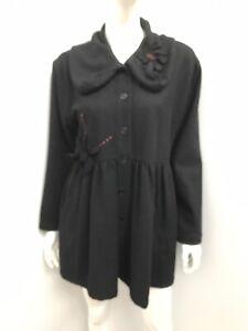 TARA VAO black 50% wool flower applique coat ~ sz M (12-14)