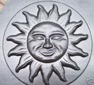 "Sun face stepping stone plastic mold 13"" x 2"" plaster concrete mould"