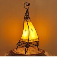 Oriental Lámpara Henna Marroquí Cuero de Pie Canar Amarillo H58cm