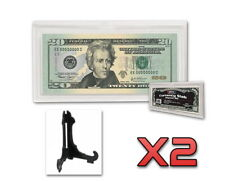 2x NEW BCW CURRENCY SLABS THICK LARGE BILL DISPLAY CASE + STAND PROTECT NOTES