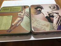 "set 2 Vintage 1950's Tin Box Retro Baseball Sport Memorabilia 5x5x1"""