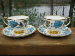ROMNEY Cups /& Saucers by Copeland Spode Multicolor Floral Transferware English Ironstone Multi Color Green Red Blue