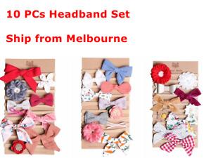 10PCs Set Handmade Kid Newborn Baby Toddler Girls Cotton Bow Headband Headwrap