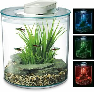 Marina 360 Aquarium/10L Fish Tank,Remote Control, RGB Multi LED Colour Lighting