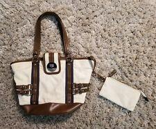 Chaps Bag With Logo - Canvas and Faux Leather Handbag Bag W/ Change Purse