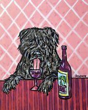 Bouvier Des Flandres dog art Print poster gift Jshmetz modern pink 13x19 wine