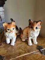 """Set of 2 Vintage Lefton H6364 Porcelain Tabby Cat Figurines 5"""" Japan"""