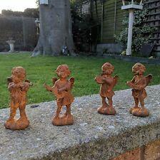 Rust Effect Garden Cherub Ornament Set of 4 Vintage Antique Style