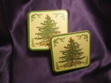 SPODE Victorian Christmas Tree Holiday Square Cork Backed Coasters, Set of 8