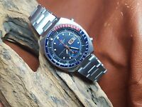 RARE VINTAGE SEIKO CHRONOGRAPH PEPSI BLUE DIAL POGUE AUTOMATIC MAN'S WATCH