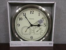 New- Westclox 12 Indoor/Outdoor Wall Clock with Temperature and Humidity (Metal)