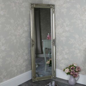 Tall slim champagne silver wall leaner mirror shabby vintage chic ornate hallway