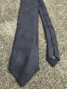 "Jonelle navy blue pink dotted smart 100% silk classic tie 3.5"" wide 58"" long"