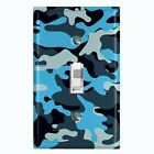 Metal Light Switch Cover Wall Plate Camouflage Blue Pattern