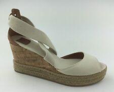 e0bece3de6da Tory Burch Peep Toe Cork Womens Tan Canvas Espadrilles Sandals Wedge Heels  US 10