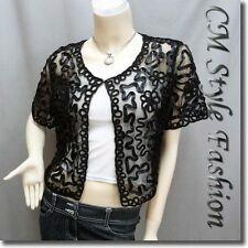 * Chic Applique Embroidery Mesh Shrug Bolero Top Black L~XL