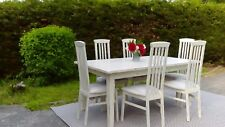 Very large Extending Dining Table & 6 Chairs Shabby Chic.Pale Cream. Can Deliver