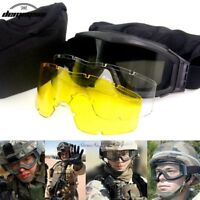 Men Tactical Sunglasses Army Military Glasses Airsoft Paintball Goggles 3 Lenses