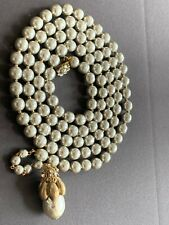 Sign Miriam Haskell Huge Baroque Champagne Pearls Rhinestone Necklace Jewelry