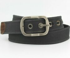 """Black Thick Strong Fabric Belt Leather End trims Fits 32""""-34"""" Pant size"""