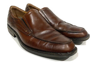 Ecco Windsor Men's Amber Brown Leather Apron Toe Slip On EU 43 US 9-9.5