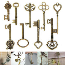 9 Large Vintage Antique Royal Skeleton Key Pendant Old Look Jewelry Craft Decor
