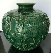 """Large Round Floor Vase All Over Raised Design Green 13"""" tall 12"""" wide"""