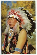 NATIVE AMERICAN INDIAN in Feather Headdress Beaded Clothing Chrome Postcard 1962
