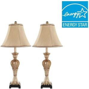 Table Lamp 25 in. Classic Style Gold Finish with Beige Empire Shade (Set of 2)