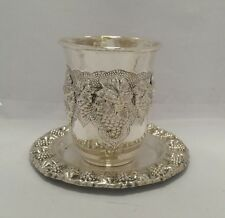 Solid Silver Sterling 925 Kiddush Cup Goblet Becher & tray Judaica Shabbat