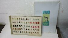 Vintage lot of 60 old Flyrod fishing flies lures Boxed 1940s Fishing Guts Japan?
