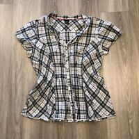 Torrid Womens Size 2 Gray Black Plaid S/S Button Shirt Top 100 Cotton