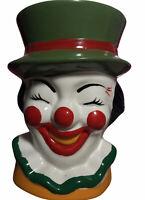 "Vintage Nancy Pew Clown Planter Green Hat Original Sticker Giftwares Co 4.5"""