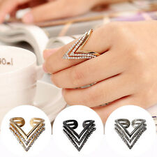 1pc Fashion Women Alloy Rhinestone Simple Traingle Band Ring Finger Gift Jewelry